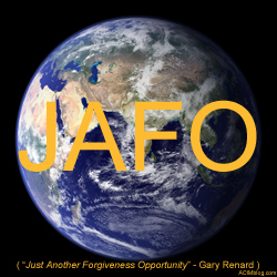 JAFO (Just Another Forgiveness Opportunity) shirt reminds us not to take the illusion of our increasingly surreal 3D world too seriously.
