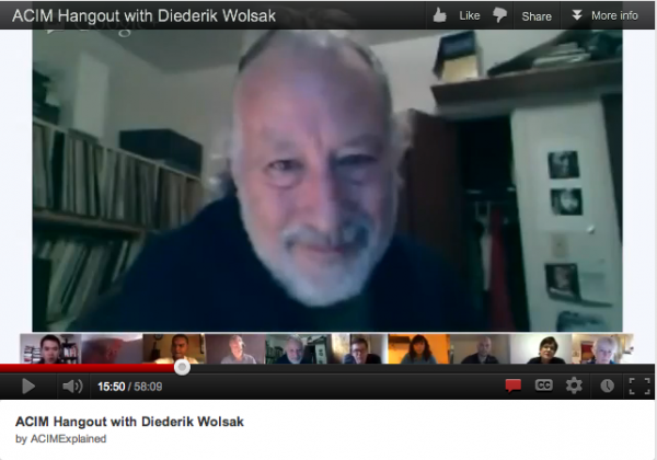 ACIM Hangout - Diederik Wolsak - screen snap from video presentation-meeting